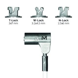 Câble de sécurité pivotant avec verrou à clé rotatif, en acier trempé, 3 têtes interchangeables