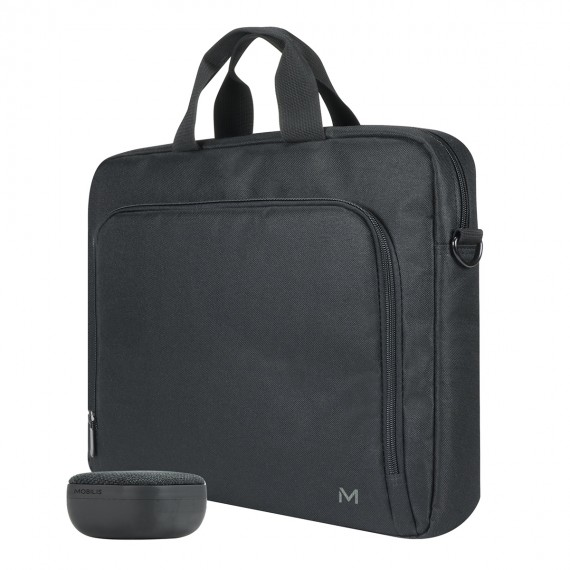 The One Basic toploading briefcase with bluetooth speaker