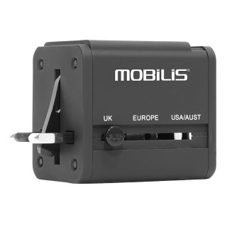 Worldwide travel adaptor + 2 ports USB 2,1A - Compatible 155 countries