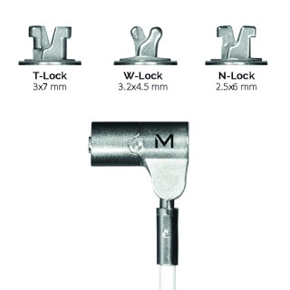 Pivoting key security cable with rotating lock, in hardened steel, 3 interchangeable heads