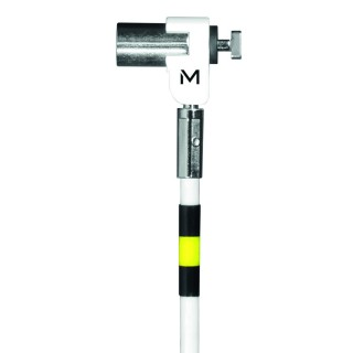 Pivoting key security cable with rotating lock, in hardened steel