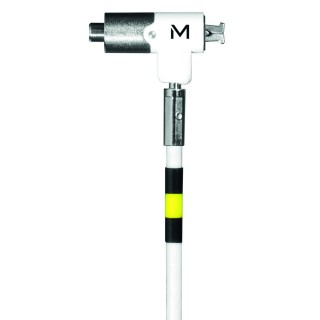 Pivoting key security cable with rotating lock, in hardened steel, for Nano Slot