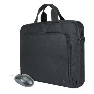 The One Basic toploading briefcase with wired mouse